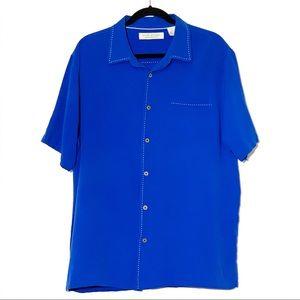 Island Republic 100% Blue Silk Shirt Size- XXL